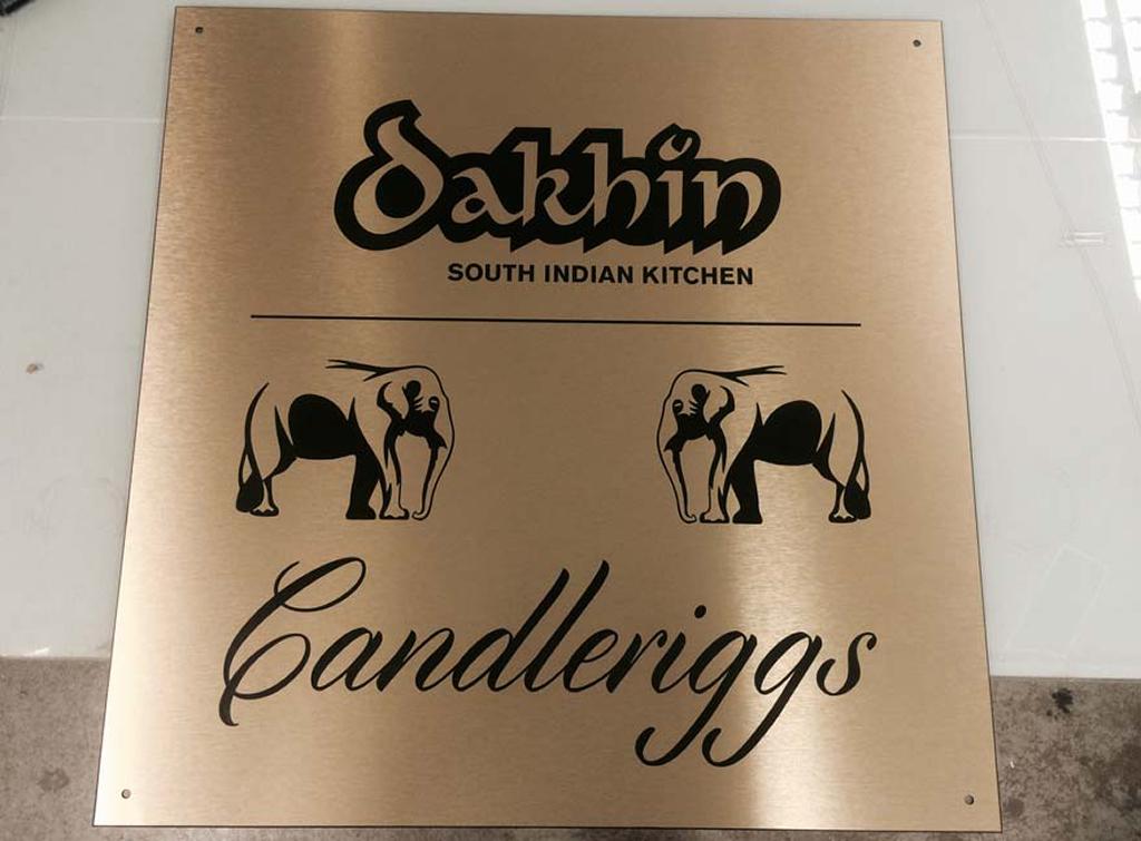 Restaurant engraved plate