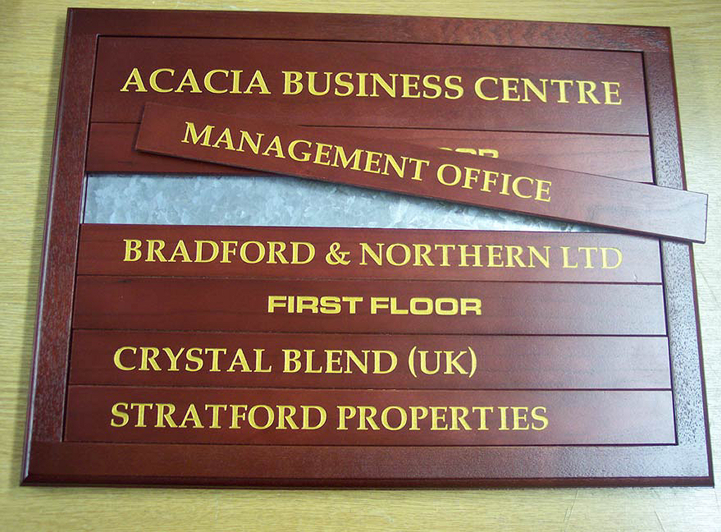 Wooden engraved directory board